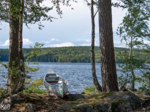 Zweeds uitzicht met kano